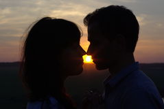 Silhouette couple kissing at sunset. Silhouette sweethearts kissing at sunset in a field Royalty Free Stock Photos