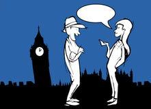 Tourist Couple in London, Big Bang, Cartoon with Ballon Stock Images