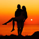 Silhouette couple in love Stock Photography