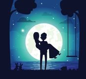 Silhouette of Couple in Love Vector Illustration. Silhouette of couple in love, man holding woman, trees and swing, bunnies and river, full moon with stars and royalty free illustration