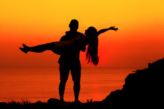 Silhouette couple in love Royalty Free Stock Image