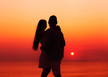 Silhouette couple in love Royalty Free Stock Photos