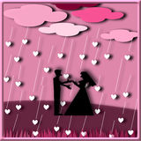 Silhouette couple love standing under the rain heart Royalty Free Stock Photos