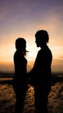 Silhouette couple in love Royalty Free Stock Images