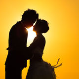 Silhouette couple love Stock Image