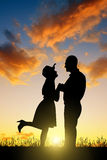 Silhouette of couple in love Stock Photo