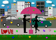 Silhouette couple love in umbrella in the city Stock Photography