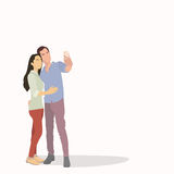 Silhouette Couple Man Girl Taking Selfie Photo On Smart Phone Stock Photo