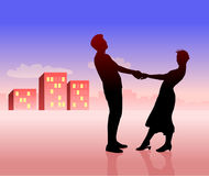 Silhouette of couple: man and woman. Buildings far away stock illustration