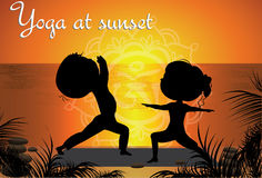 Silhouette Couple man and woman doing yoga on the beach Stock Photos