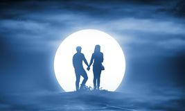 Silhouette couple man and woman holding hand together royalty free stock photo