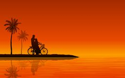 Silhouette couple man and woman walking together with bicycle on beach under sunset sky background royalty free illustration
