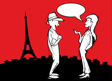 Tourist Couple in Paris, Cartoon with Ballon Stock Image