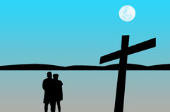 Silhouette the couple prayer with cross Royalty Free Stock Photo