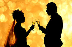 Silhouette couple romance. Silhouette of wedding couple romance on bokeh background Stock Images