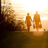 Silhouette of couple shopping Royalty Free Stock Photography