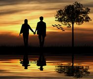 Silhouette of couple vector illustration