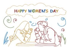 Silhouette Couple Sit At Table In Cafe Drink Coffee Together Doodle Happy Women Day Holiday Concept Stock Photos