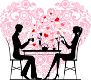 Silhouette of a couple sitting and talking at cafe royalty free illustration
