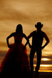 Silhouette couple stand hands hips Royalty Free Stock Photo