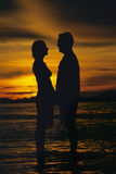 Silhouette of couple standing face to face Royalty Free Stock Photos