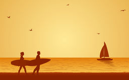 Silhouette couple surfer carrying surfboard on beach under sunset sky background in flat icon design Stock Photos