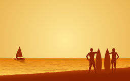 Silhouette couple surfer carrying surfboard on beach under sunset sky background in flat icon design Royalty Free Stock Photos