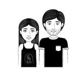 Silhouette couple teenager with black t-shirt Royalty Free Stock Photography