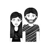 Silhouette couple teenager with clicking eye and beard Stock Images