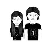 Silhouette couple teenager with straight and wavy hair Royalty Free Stock Image