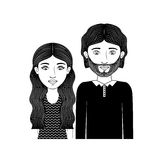 Silhouette couple teenager with wavy hair and beard Royalty Free Stock Image