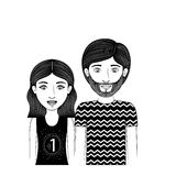 Silhouette couple teenager with wavy hair and beard Stock Photography