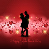 Silhouette of couple on Valentine's Day background Royalty Free Stock Photos