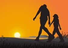 Silhouette of couple walking on the beach in the morning on golden sunrise background, health care exercise concept. Vector illustration Royalty Free Stock Photography