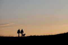 Silhouette with couple walking with dog Stock Photography