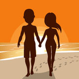 Silhouette Couple Walking Royalty Free Stock Photography