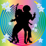 Silhouette of couples dancing disco. Silhouette of couples dancing disco against a background of circles and stars Royalty Free Stock Photos