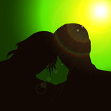 Silhouette couples Stock Photography