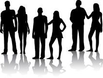 Silhouette of couples people Stock Image