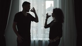Silhouette of couples who drinks wine, standing at the window stock video footage