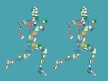 Silhouette courante d'homme remplie d'icônes de sport Illustration de vecteur sur le fond blanc Images stock