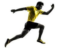Silhouette courante de coureur de sprinter de jeune homme Photos libres de droits