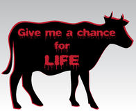 Silhouette of cow with bloody motto Stock Photography