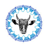 Silhouette of a cow with patterns and ethnic ornaments, ornament Royalty Free Stock Photography