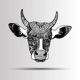Silhouette of a cow with patterns and ethnic ornaments, ornament Royalty Free Stock Image
