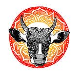 Silhouette of a cow with patterns and ethnic ornaments, ornament Stock Image