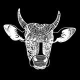 Silhouette of a cow with patterns and ethnic ornaments, ornament Stock Images