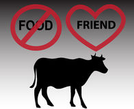 Silhouette of cow with signs Stock Photography