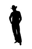Silhouette cowboy. Over white Royalty Free Stock Images