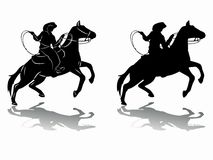 Silhouette of a cowboy on horseback. vector drawing. Illustration of a cowboy on horseback . black and white drawing, white background Stock Photo
